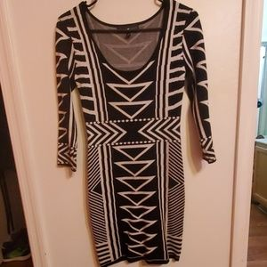 Great Material Black & White Dress